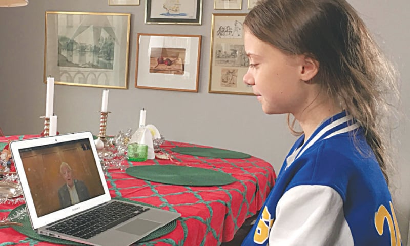 """Greta Thunberg speaks to David Attenborough via video chat as a part of her guest edit of the BBC Radio 4's """"Today"""" programme at her home in Stockholm.—Reuters"""