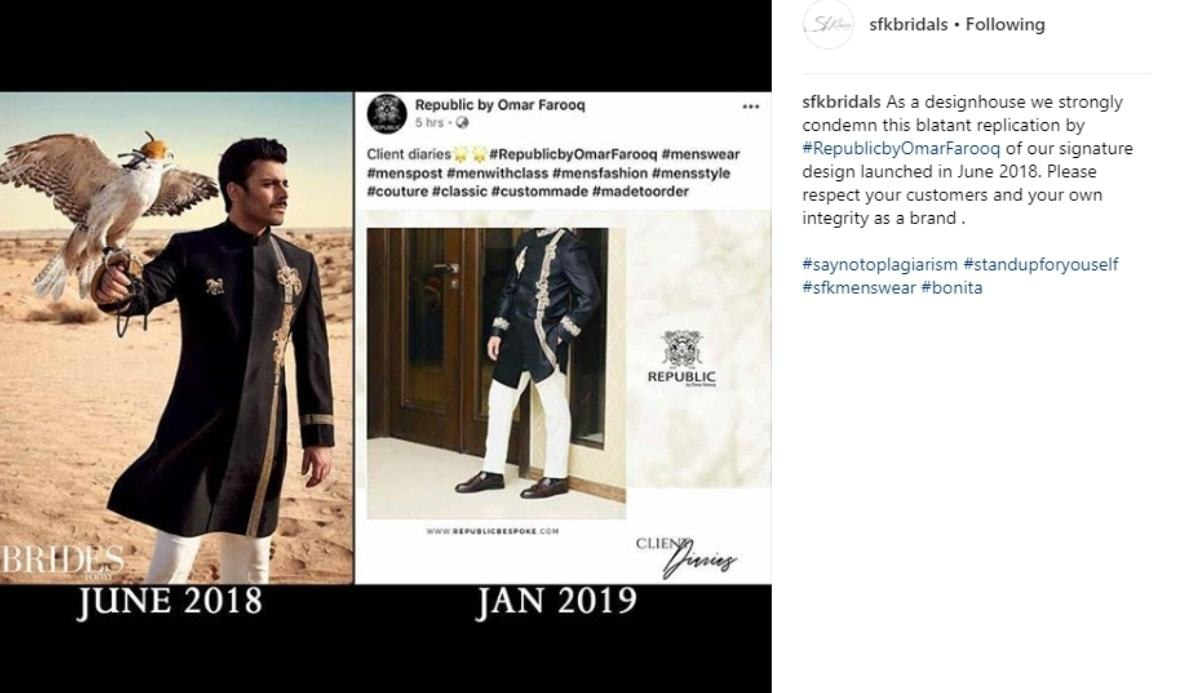 SFK Bridals accused Republic Menswear of plagiarism earlier this year