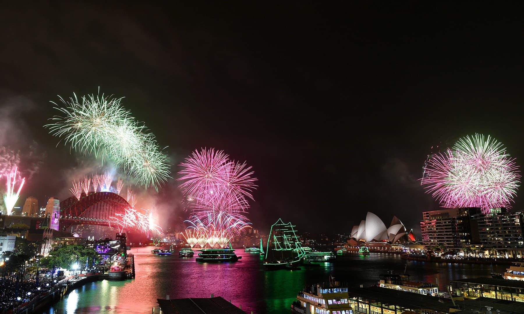 Fireworks explode to welcome in the New Year over the Sydney Harbour Bridge and the Sydney Opera House, as seen from Cahill Expressway during New Year's Eve celebrations in Sydney, Australia, January 1, 2020. — Reuters