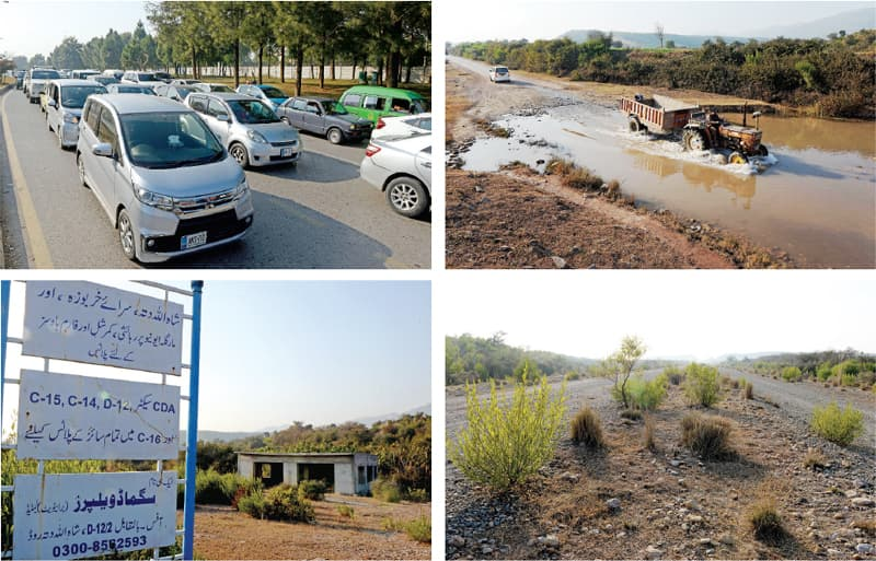 Clockwise from top: Traffic congestion is a routine matter on Margalla Road, the link road leading to Sangjani from Shah Allah Ditta in D-12, abandoned Margalla Avenue which starts from G.T. Road and the signboard shows various residential sectors in the area. — Photos by Mohammad Asim