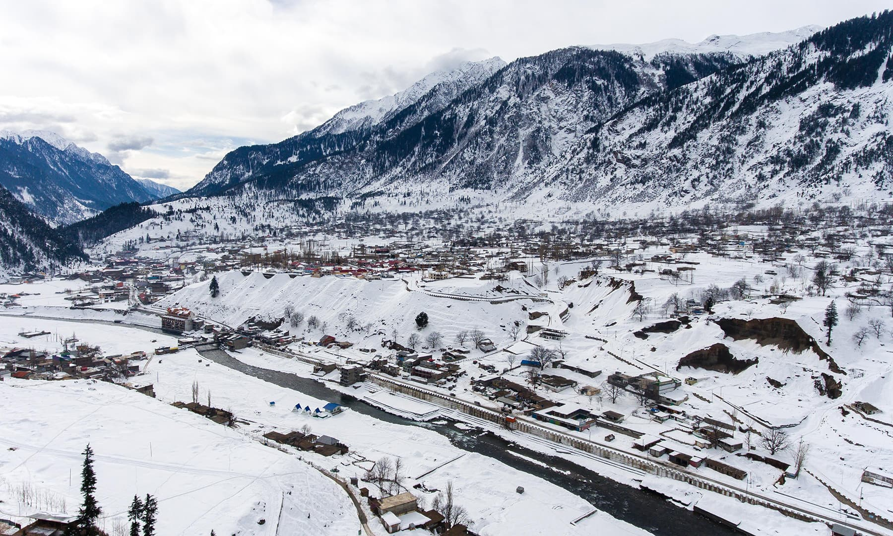**Aerial view of Kalam valley. — Photo by author**
