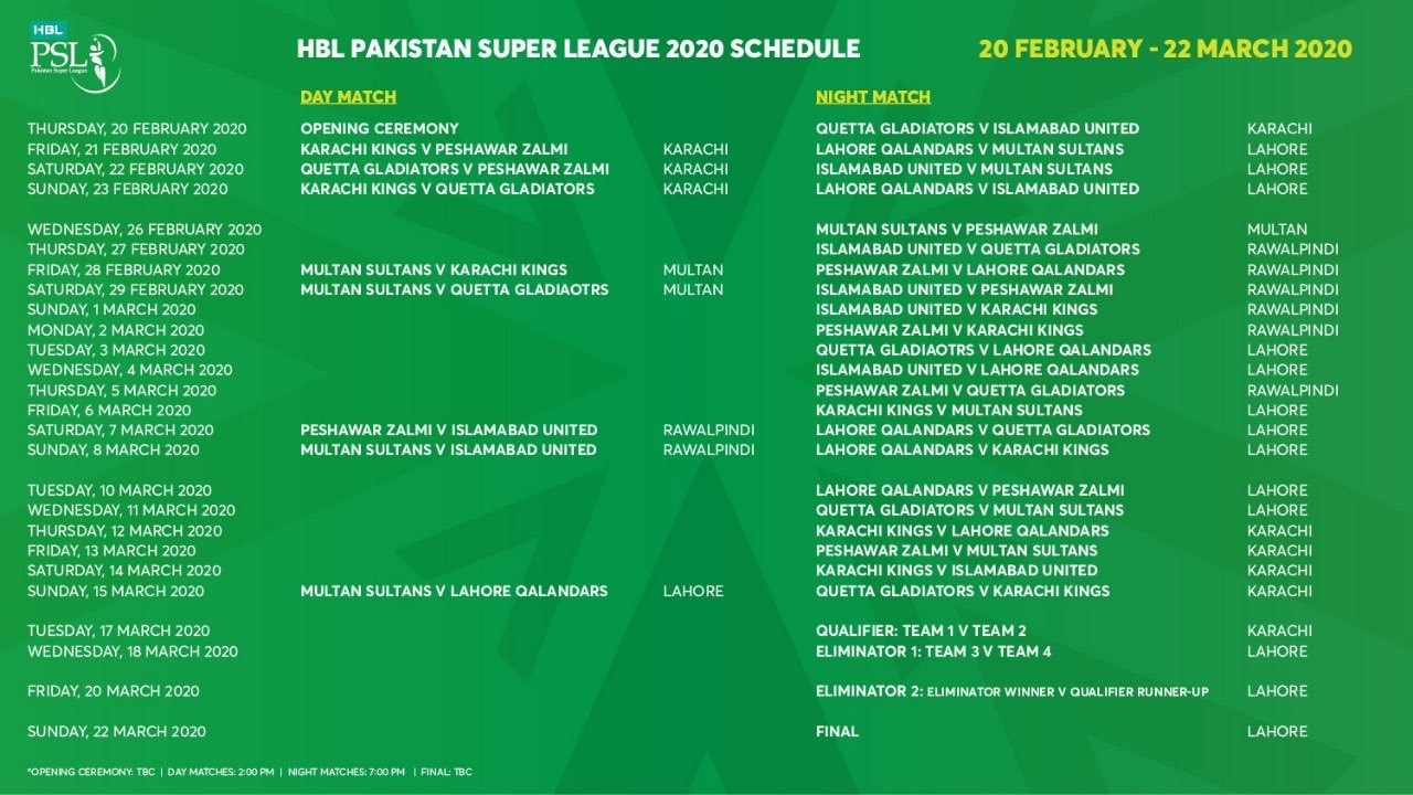 The PSL 2020 schedule. — PCB