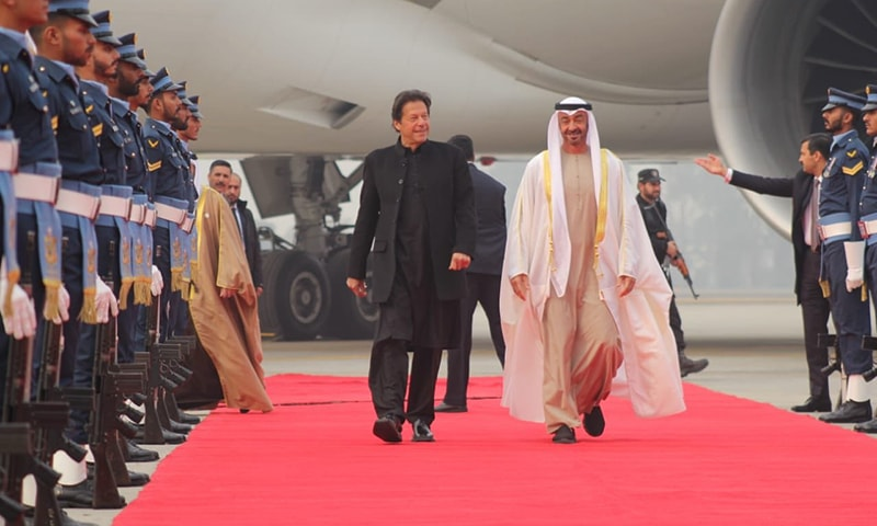 Prime Minister Imran Khan received Abu Dhabi Crown Prince Sheikh Mohammed bin Zayed Al Nahyan at Nur Khan Airbase on Thursday. — PTI Official Twitter