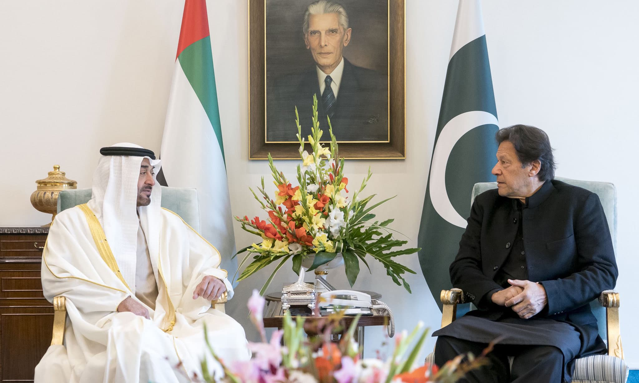 Prime Minister Imran Khan with Abu Dhabi Crown Prince Sheikh Mohammed bin Zayed Al Nahyan in Islamabad on Thursday. — @MohamedBinZayed