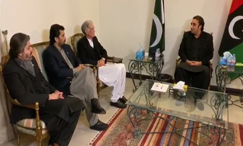The government delegation calls on PPP chairman Bilawal Bhutto Zardari and other party leaders. — DawnNewsTV