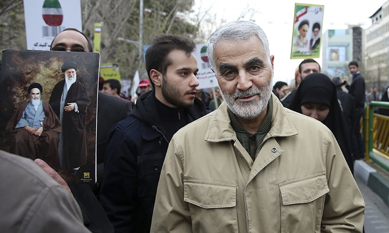 In this Thursday, Feb. 11, 2016, file photo, Qassem Soleimani, commander of Iran's Quds Force, attends an annual rally commemorating the anniversary of the 1979 Islamic revolution, in Tehran, Iran. — AP