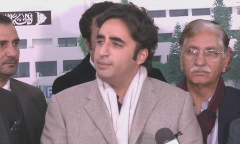 PPP Chairperson Bilawal Bhutto Zardari speaks to reporters on Friday. — DawnNewsTV