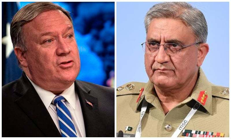 US Secretary of State Mike Pompeo (left) and Chief of Army Staff General Qamar Javed Bajwa. — AFP/File