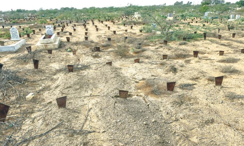 Mostly unclaimed bodies are buried at the Edhi graveyard in Mowach Goth, as seen in this file photo.—White Star