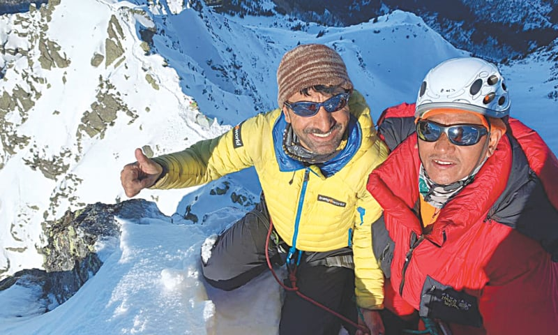 PAKISTANI mountaineer Mohammad Ali Sadpara and French climber Marc Batard on top of Mont Blanc in the Alps.—Dawn