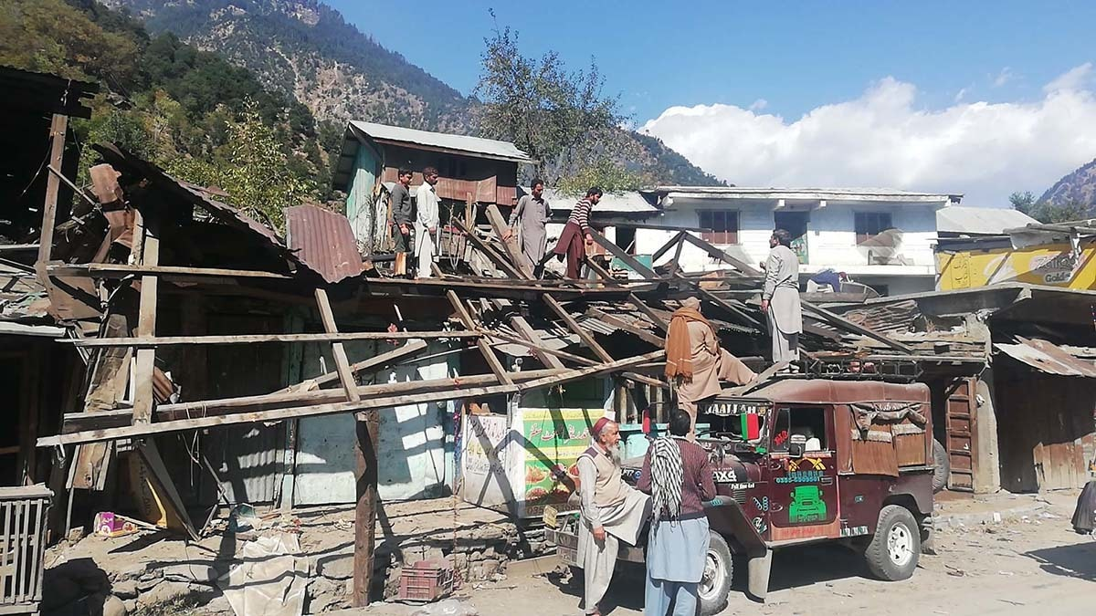 A market that was damaged by Indian shelling in Neelum Valley in October 2019