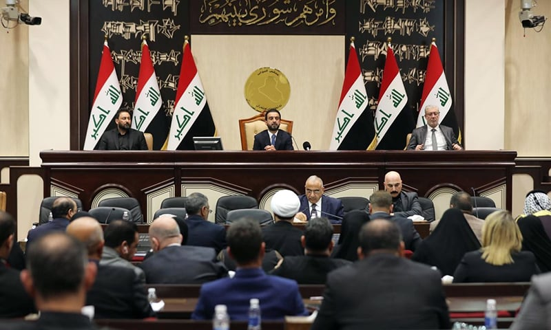 Members of the Iraqi parliament are seen at the parliament in Baghdad, Iraq, on Sunday. — Reuters