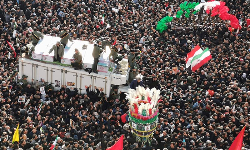 Mourners gather to pay homage to top Iranian military commander Qasem Soleimani, after he was killed in a US strike in Baghdad, in the capital Tehran on January 6. — AFP