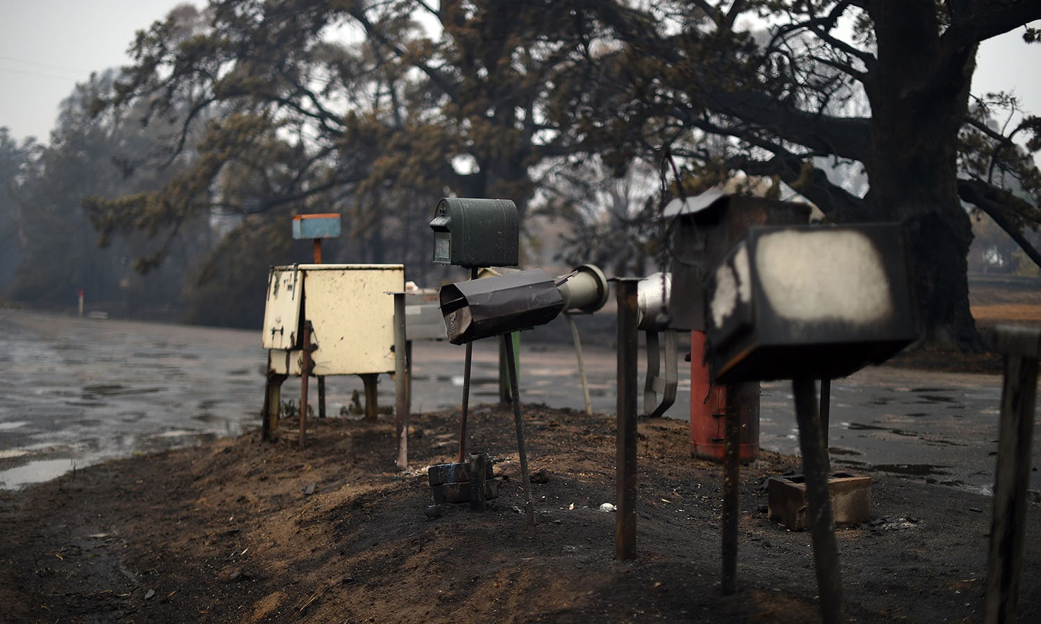Burnt letter boxes are seen on Quinlans street after an overnight bushfire in Quaama. — AFP