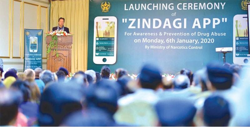 PRIME Minister Imran Khan addresses the launching ceremony of Zindagi App on Monday.—PPI