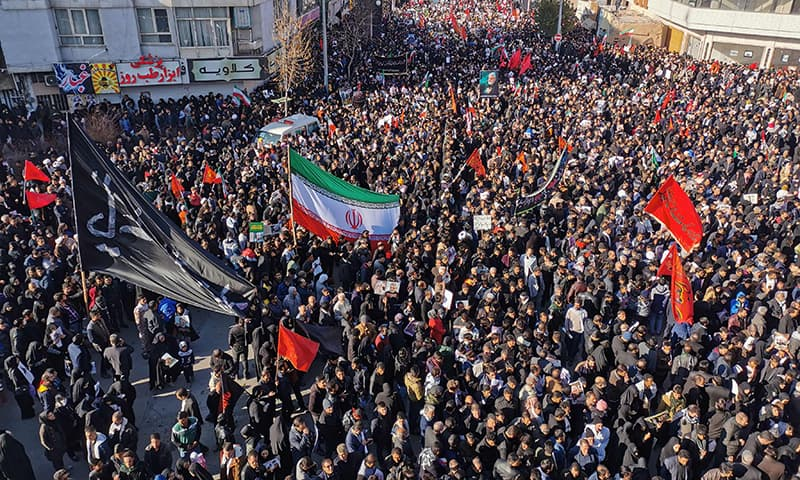 Iranian mourners gather for the burial of slain top general Qasem Soleimani in his hometown Kerman on January 7. — AFP