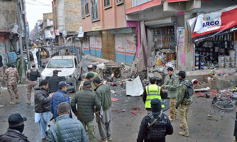 A view of the damages on the spot after a blast on Quetta's McConaghey Road on Tuesday. — APP
