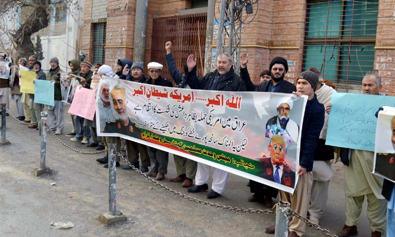 QUETTA: Activists of Majlis Wahdat-i-Muslimeen take part in a demonstration on Tuesday against the killing of Iranian commander Qassem Soleimani in a US air strike in Iraq.—PPI
