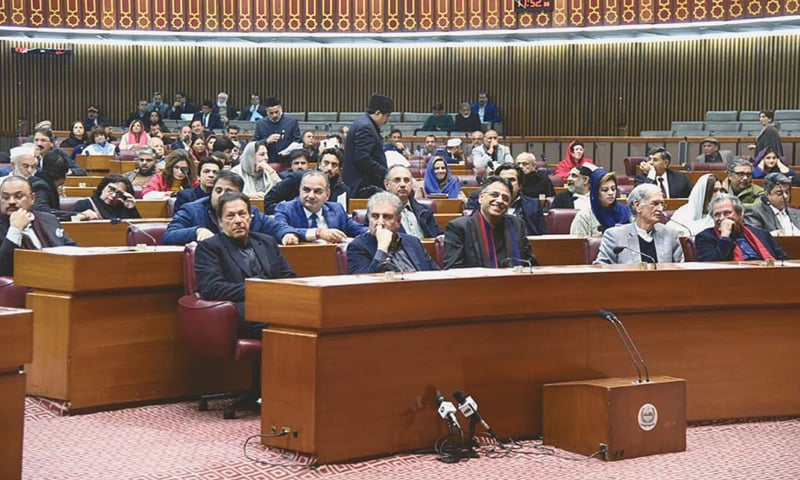 ISLAMABAD: Prime Minister Imran Khan in the National Assembly session on Tuesday.—APP