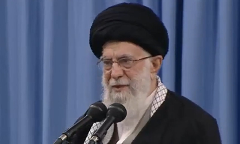 Iranian Supreme Leader Ayatollah Ali Khamenei addresses the nation hours after Iran launched missile attacks on US bases in Iraq. — Photo courtesy screengrab from PressTV