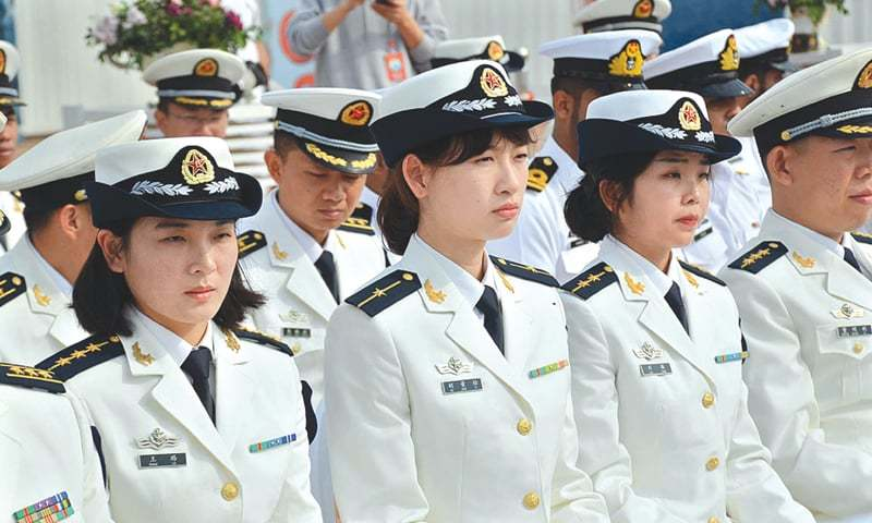 Chinese Navy officers at the opening ceremony of Exercise Sea Guardians 2020 on Monday.—APP/File