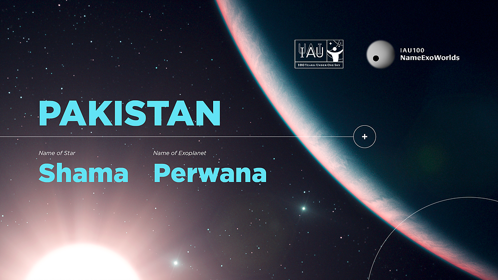 """International Astronomical Union recognised """"Shama"""" and Perwana"""" as new names for the star HD99109 and its planet HD99109b. — Courtesy: *nameexoworlds.iau.org/pakistan*"""