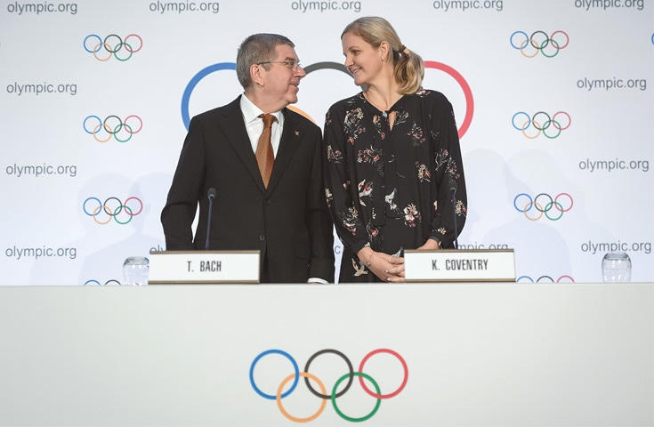 INTERNATIONAL Olympic Committee president Thomas Bach (L) and chair of the IOC Athletes' Commission Kirsty Coventry attend a press conference after closing an executive board meeting at the IOC headquarters on Thursday.—AFP