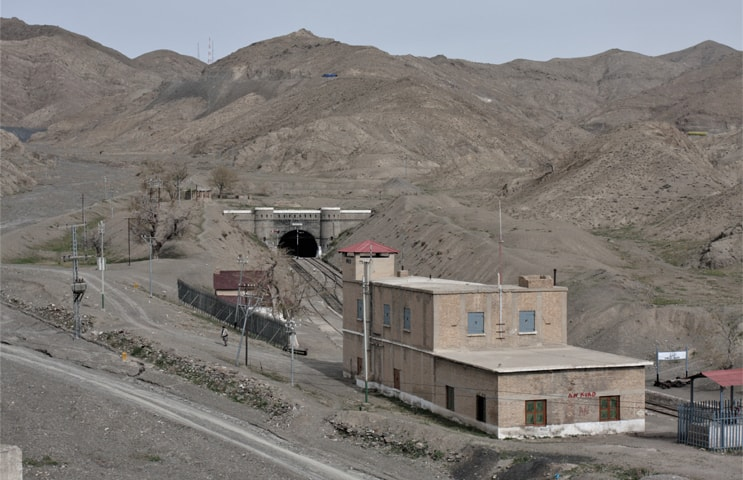 Shelabagh Railway Station with the eastern portal of Khojak Tunnel