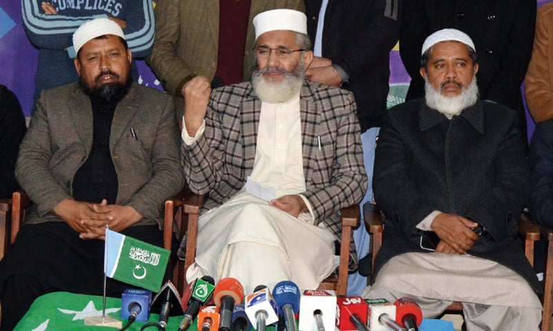 QUETTA: Jamaat-i-Islami emir Senator Sirajul Haq addresses the press conference.—PPI