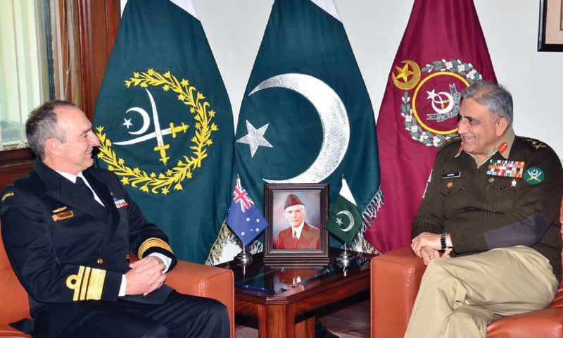 CHIEF of the Army Staff Gen Qamar Javed Bajwa speaks to Vice Admiral David Johnston during a meeting at GHQ on Friday.—PPI