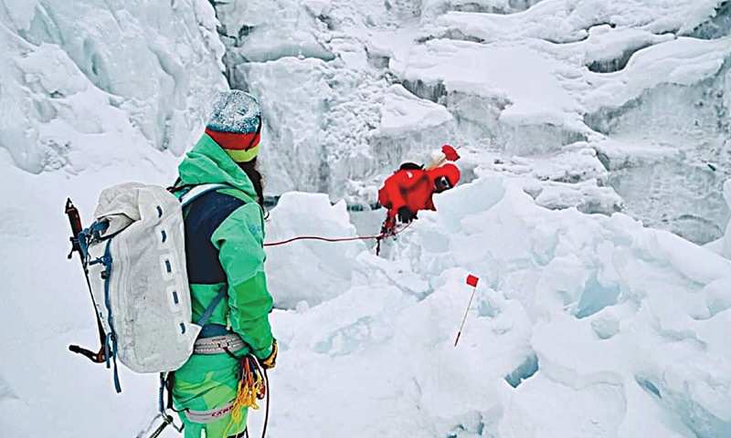 SIMON Moro and Tamara Lunger attempting to reach camp one of Gasherbrum I.—Dawn