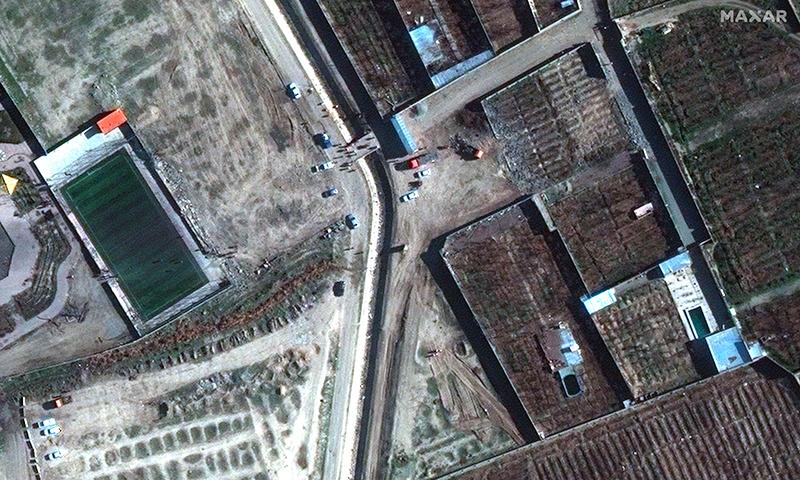 اس مقام کی سیٹلائٹ تصویر جہاں یوکرین کا مسافر طیارہ گر کر تباہ ہوا— فوٹو: اے ایف پی