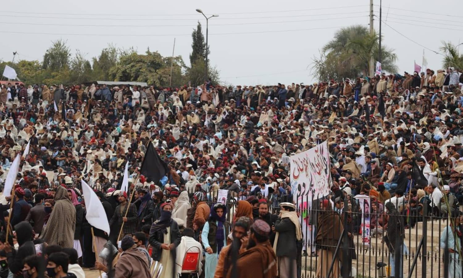 Crowd gathered at the  Pashtun Tahaffuz Movement (PTM) public gathering in Bannu on Sunday. — via PTM Facebook