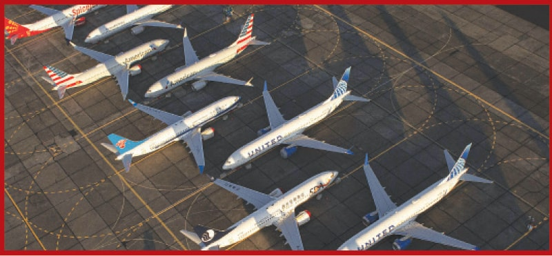 """IN this file photo taken on Oct 23, 2019, Boeing 737 MAX airplanes are parked at Grant County International Airport in Moses Lake, Washington. Boeing employees bantered about whether the 737 MAX was safe to fly and joked that the aircraft was """"designed by clowns who in turn are supervised by monkeys"""", according to emails released late Thursday. """"Would you put your family on a MAX simulator trained aircraft? I wouldn't,"""" a Boeing employee wrote to a colleague in one newly released exchange conducted about eight months before the first of two fatal MAX crashes. """"No,"""" the colleague answered.—AFP"""