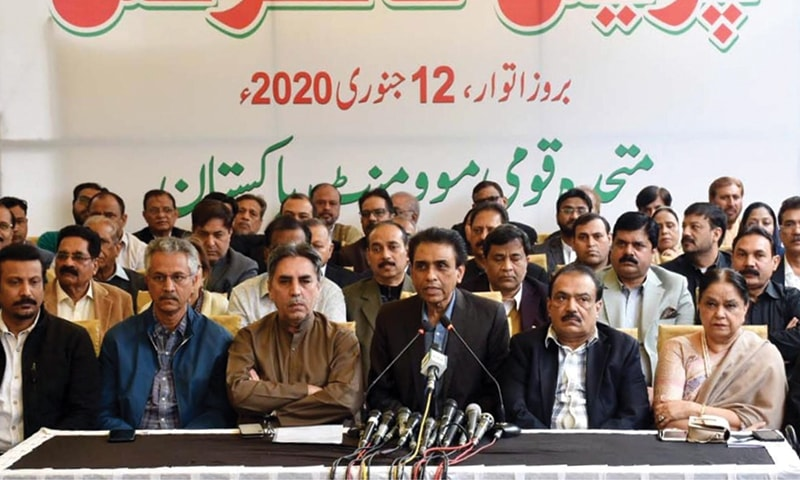 KARACHI: Muttahida Qaumi Movement-Pakistan convener Dr Khalid Maqbool Siddiqui addresses the press conference on Sunday.—Online