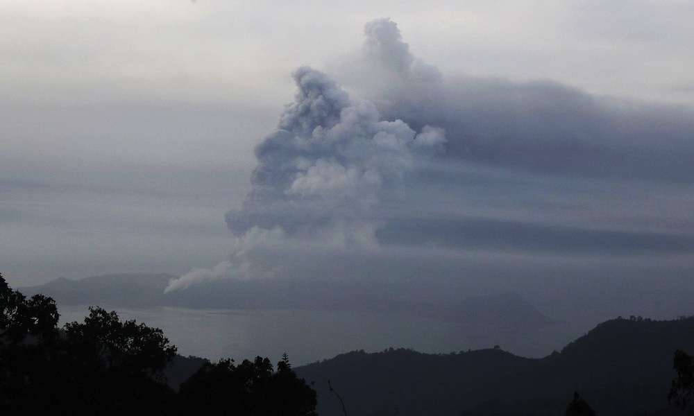 Taal Volcano spews ash on Monday in Tagaytay, Cavite province, south of Manila, Philippines. — AP