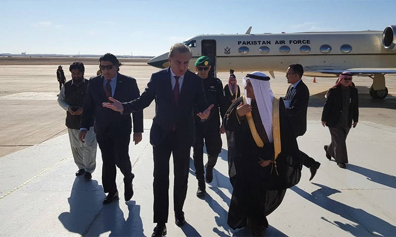 FM Qureshi is received by Saudi and Pakistani officials at Riyadh airport. — Photo: FO