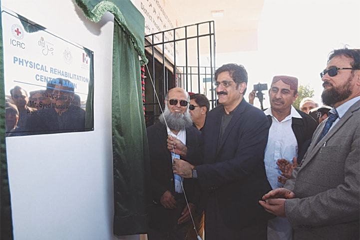 CM Syed Murad Ali Shah inaugurates the physical rehabilitation centre in Badin on Monday.—Dawn