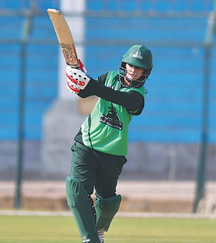 KARACHI: PCB Challengers skipper Bismah Maroof hits out during her unbeaten half-century against PCB Blasters in the National Triangular T20 Women's Championship match at the National Stadium on Monday. —Courtesy PCB