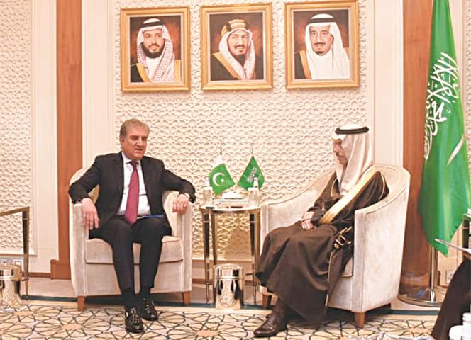 RIYADH: Foreign Minister Shah Mehmood Qureshi meets his Saudi counterpart Prince Faisal bin Farhan Al Saud on Monday.—INP