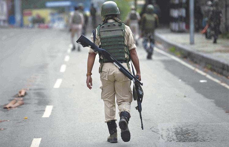 THIS Aug 15, 2019, file photo shows Indian paramilitary soldiers patrol in Srinagar.—AP