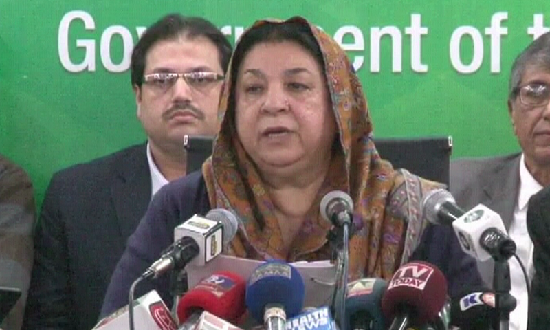 Punjab Health Minister Dr Yasmeen Rashid addressing a press conference in Lahore on Tuesday. — DawnNewsTV