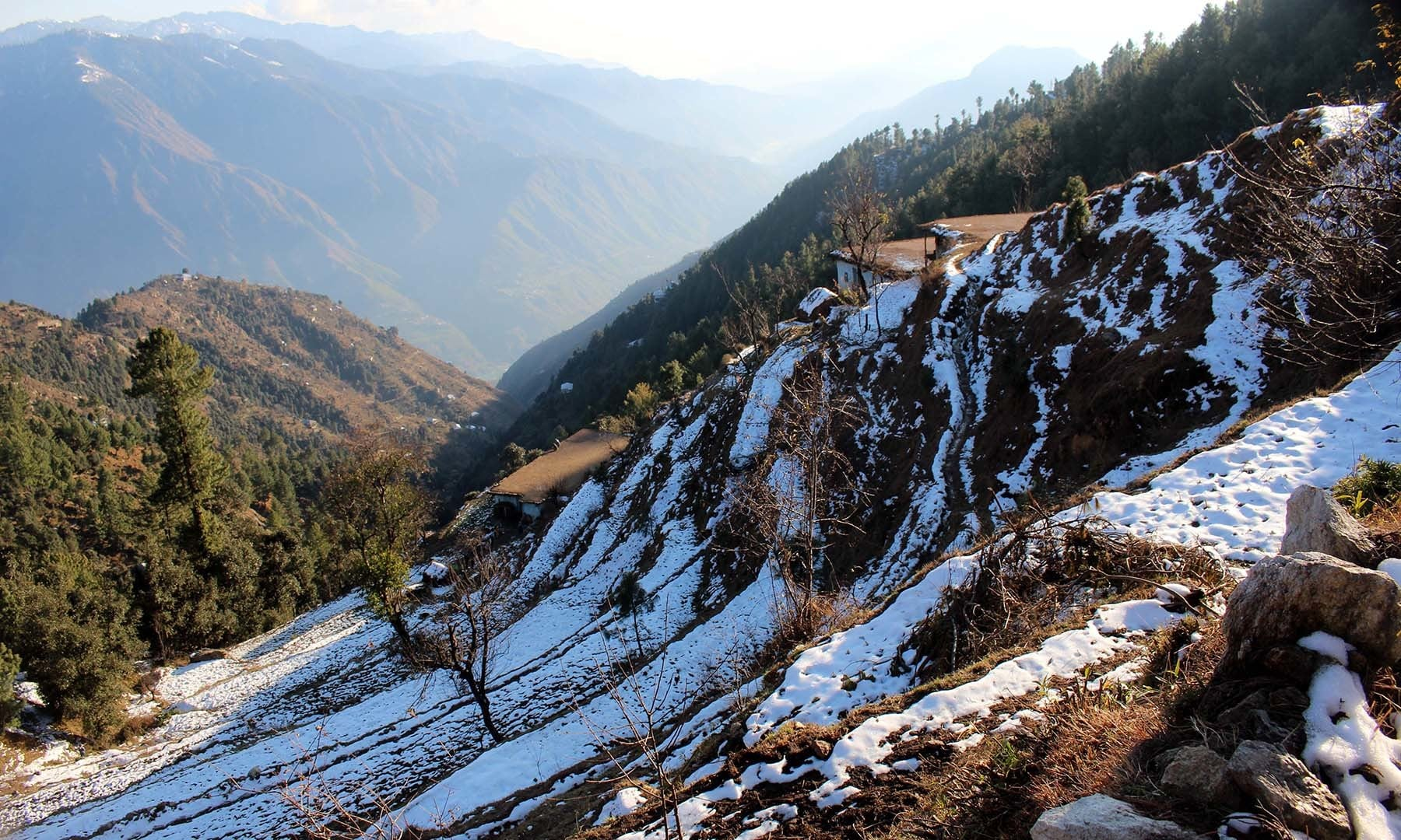 A view of the mountainous area after receiving light snowfall. — Photos by author