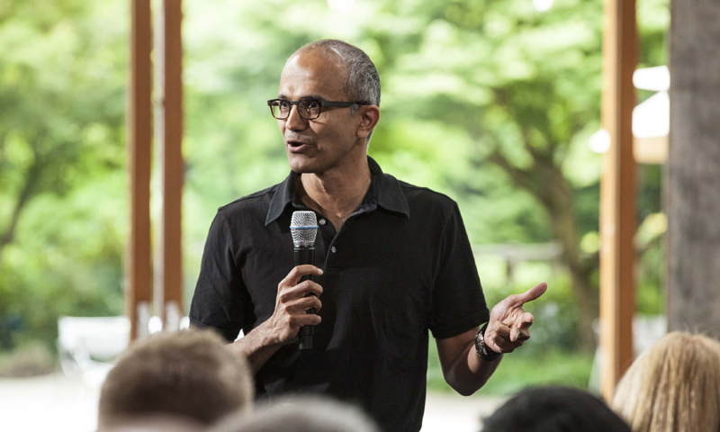 Satya Nadella, executive vice president, Cloud and Enterprise, addresses employees during the One Microsoft Town Hall event in Seattle, Washington in this July 11, 2013 photo. — Reuters/File