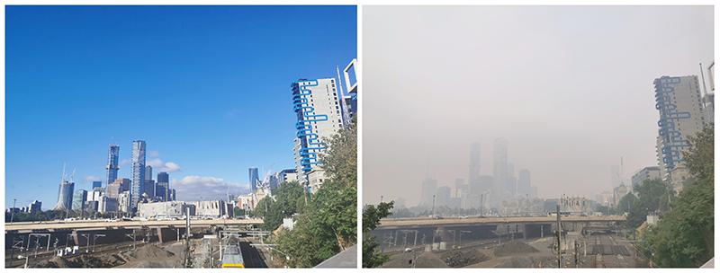 میلبرن میں آلودگی سے قبل اور بعد میں لی گئی تصاویر سے حالات کی سنگینی کا اندازہ لگایا جا سکتا ہے— فوٹو: رائٹرز