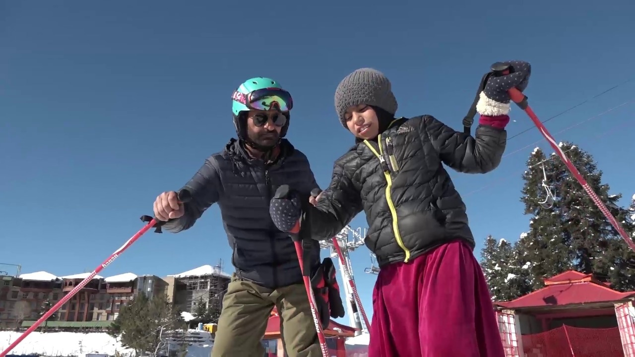 Azra, who is hearing and speech-impaired, is one of the most promising talents at the Malam Jabba ski training school. - Photo by Murad Ali Khan