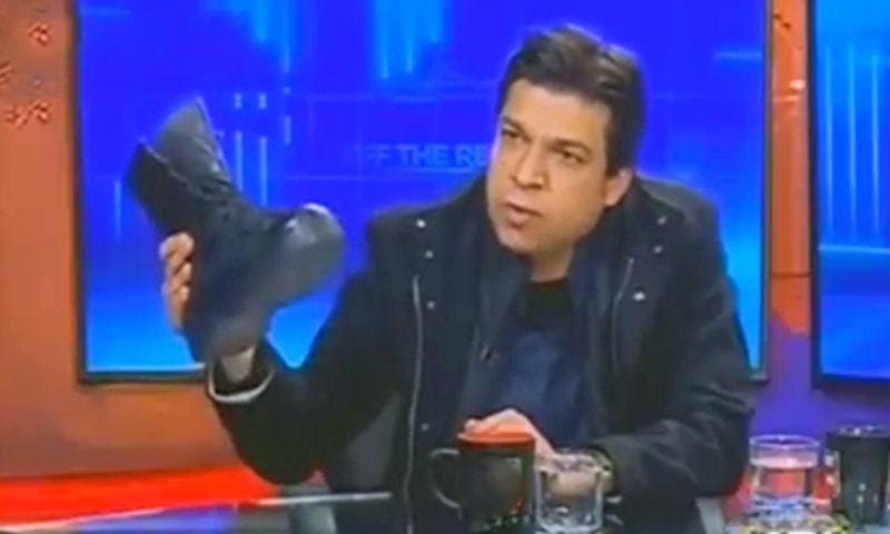 ٹی وی پروگرام میں 'فوجی بوٹ' لانے پر فیصل واڈا پر تنقید