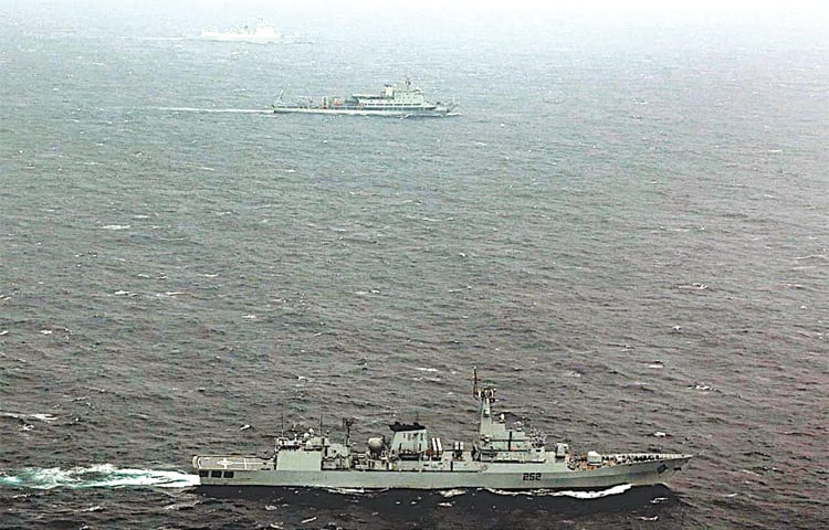KARACHI: Vessels of the Pakistan Navy and Chinese navy participating in the exercise on Tuesday.—APP