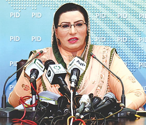 Dr Firdous Ashiq Awan speaking at a press conference after the cabinet meeting.—APP