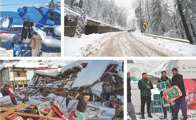 (Clockwise from top): Goods are being loaded onto a helicopter in Quetta as part of relief operations (PPI); A view of Murree after heavy snowfall (INP); Relief packages are being distributed among residents of Astore, in Gilgit-Baltistan, by the King Salman Humanitarian Aid and Relief Centre (APP); and, residents removing debris of a collapsed house in Neelum Valley (AFP).